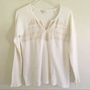 Lucky Brand Embroidery Detail Thermal Top M NWOT
